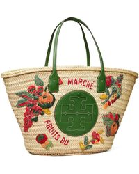 Tory Burch Ella Embroidered Straw Basket Tote Bag - Green