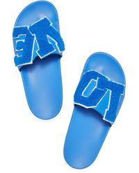 Tory Sport Love Slide Sandals - Blue