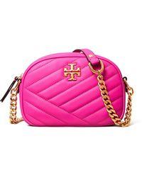 Tory Burch Kira Chevron Small Camera Bag In Pink Nappa Leather