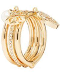 Tory Burch Miller Pavé Charm Ring - Metallic