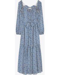 Tory Burch Printed Georgette Maxi Dress - Blue