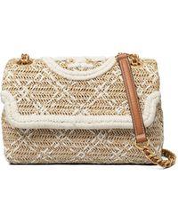 Tory Burch Fleming Soft Straw Small Convertible Shoulder Bag - Natural