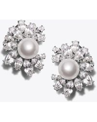 Tory Burch - Kenneth Jay Lane For Crystal Pearl Earring - Lyst