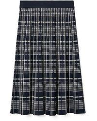 Tory Burch Plaid Pleated Skirt - Blue