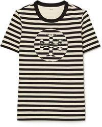 Tory Burch Striped Logo T-shirt - Black