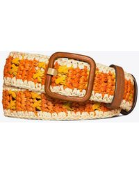Tory Burch Stripe Raffia Belt - Orange