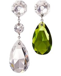 Tory Burch Multi-crystal Mismatched Drop Earring - Green