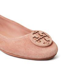 Tory Burch Minnie Travel Logo Goan Sand Leather Ballet Pumps - Multicolor