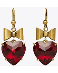 Tory Burch Heart And Bow Earring - Red