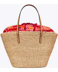 Tory Burch - Striped Straw Tote - Lyst