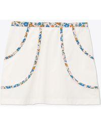 Tory Sport Floral-trim Tennis Skirt - White