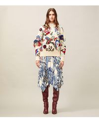 Tory Burch Hand-knit Intarsia Embroidered Sweater - Blue