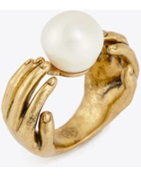 Tory Burch - Hand And Pearl Ring - Lyst
