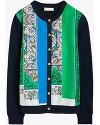 Tory Burch - Woven-front Crewneck Cardigan - Lyst