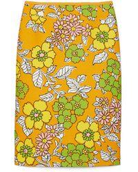 Tory Burch Printed Twill Pencil Skirt - Gelb