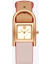 Tory Burch - Thayer Watch, Beige & Pink Leather/rose-gold, 25 X 39 Mm - Lyst