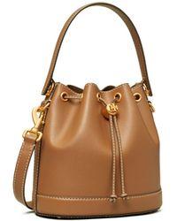 Tory Burch T Monogram Leather Bucket Bag - Brown