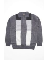 Beams Plus Knit Polo Gradation Stripe 9g Charcoal Gray
