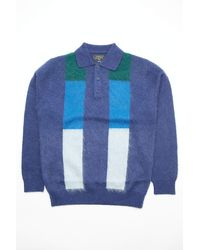Beams Plus Knit Polo Gradation Stripe 9g Navy - Blue
