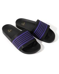 Needles Shower Sandals Track Line Black / Purple