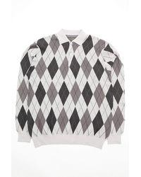 Beams Plus Knit Polo Argyle 14g Gray