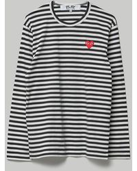 COMME DES GARÇONS PLAY Striped Big Heart Long Sleeve T-shirt - Black