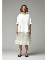 Simone Rocha Tulle Trim A-line T-shirt With Beading - White