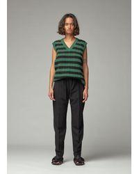 Plan C Striped Wool Sweater Vest - Green