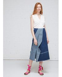 Zero + Maria Cornejo Long Denim Foil Skirt - Blue