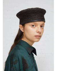 Y's Yohji Yamamoto - Flat-topped Woven Straw Beret. Fluted Silhouette. Fabric Trim At Band. Unlined. Straw. Made In Japan. - Lyst