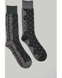 Sacai Floral Stripe Sock - Gray