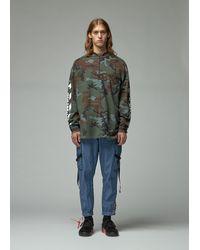 Off-White c/o Virgil Abloh Diagonal Incompiuto Camouflage Zip Mock Neck Tee - Multicolour
