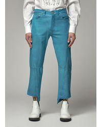Lanvin Leather Trouser Trousers - Blue