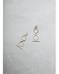 Mociun - Tiered Drop Earrings In 14k Gold. Post Backing. Sold As A Pair. 14k Gold. Handmade In Nyc. - Lyst