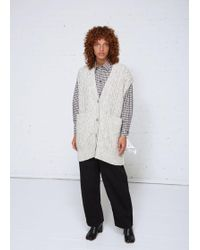MM6 by Maison Martin Margiela - Cable Knit Sleeveless Cardigan - Lyst