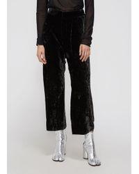 Ms Min - Loose Cropped Velvet Pant - Lyst