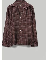 Needles Cut-off Bottom Italian Collar Shirt - Brown