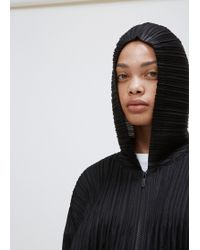Pleats Please Issey Miyake - Black Fluffy Pleats Zip Hoodie - Lyst