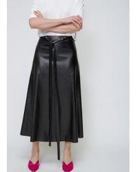 Viden - Black Faux Leather Skirt - Lyst