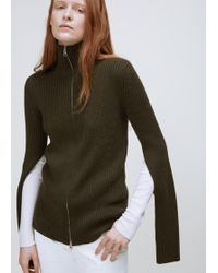MM6 by Maison Martin Margiela | Long Sleeve Zip Up Sweater | Lyst