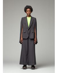 Junya Watanabe Pinstripe Wool Suit Cape - Grey