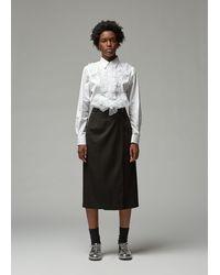 Comme des Garçons Cotton Ruffle Button Up Top - White