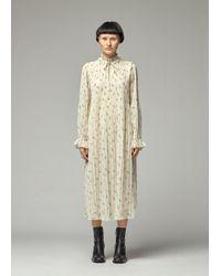 Ganni Pleated Georgette Dress - Multicolor