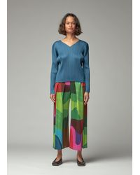 Pleats Please Issey Miyake Long Sleeve V-neck Top - Blue