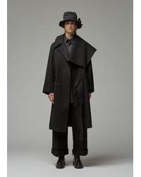 Yohji Yamamoto Left Collar Big Coat - Black