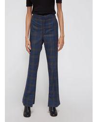 Toga Wool Check Vent Pants - Blue