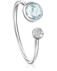 Tous - White Gold With Topaz And Diamonds Color Kings Ring - Lyst