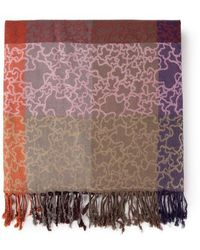 Tous Kaos Scarf In Pink And Camel - Multicolor