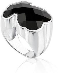 Tous Silver Color Ring With Onyx - Metallic