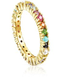 Tous - Silver Vermeil Straight Color Ring With Gemstones - Lyst